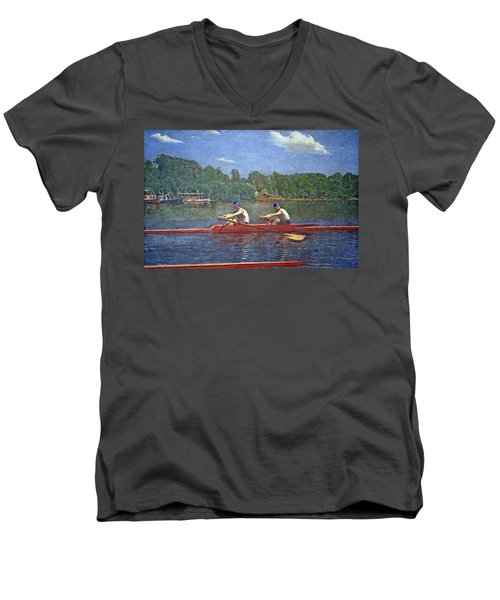 Eakins' The Biglin Brothers Racing Men's V-Neck T-Shirt by Cora Wandel