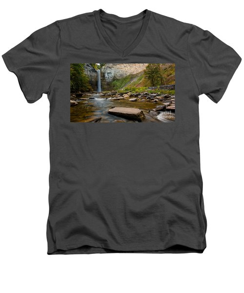 Early Autumn Morning At Taughannock Falls Men's V-Neck T-Shirt