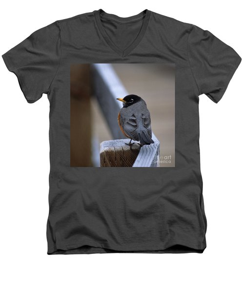 Men's V-Neck T-Shirt featuring the photograph Early Bird by Sharon Elliott