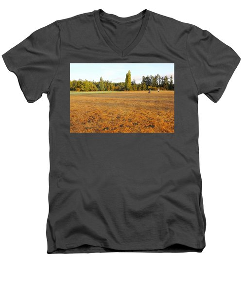 Early Fall Morning In The Rough On The Golf Course Men's V-Neck T-Shirt