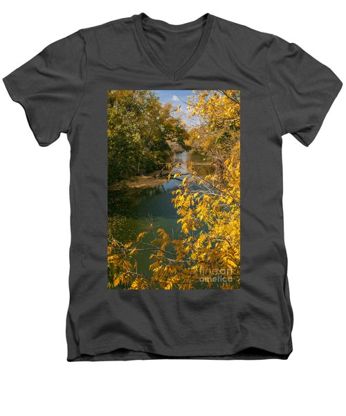Early Fall On The Navasota Men's V-Neck T-Shirt