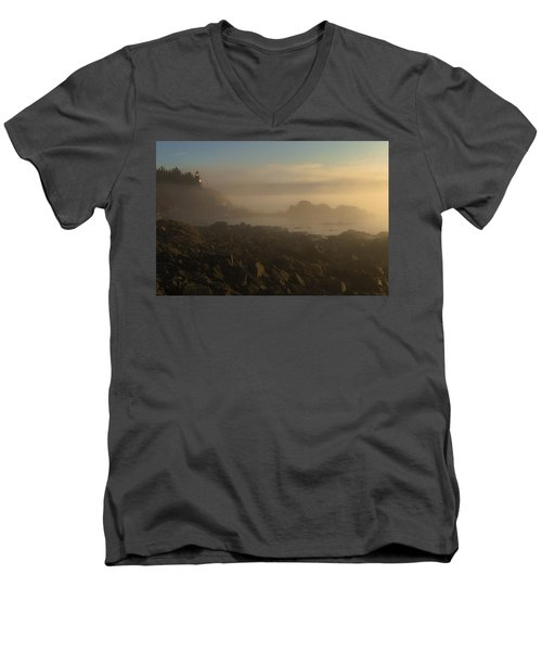 Early Morning Fog At Quoddy Men's V-Neck T-Shirt