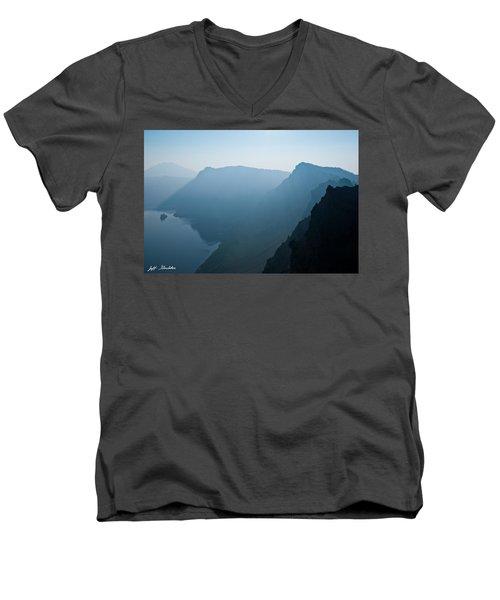 Early Morning Fog Over Crater Lake Men's V-Neck T-Shirt by Jeff Goulden