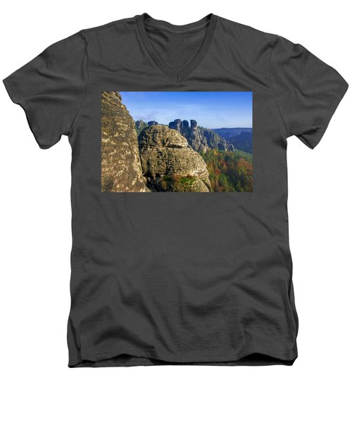 Early Morning On Neurathen Castle Men's V-Neck T-Shirt