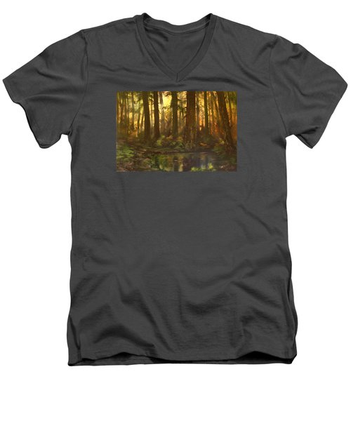 Early Morning Sun On Cannock Chase Men's V-Neck T-Shirt by Jean Walker