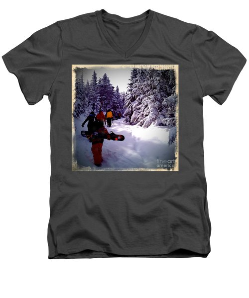 Men's V-Neck T-Shirt featuring the photograph Earning Turns by James Aiken