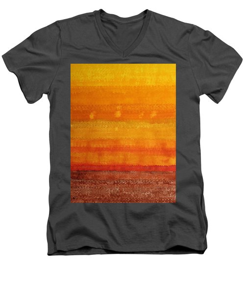 Earth And Sky Original Painting Men's V-Neck T-Shirt by Sol Luckman