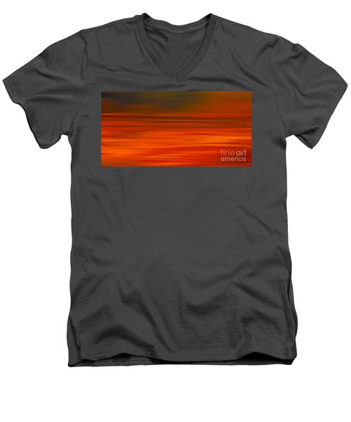 Abstract Earth Motion Sun Burnt Men's V-Neck T-Shirt by Linsey Williams