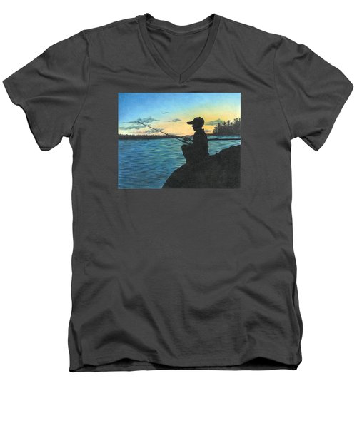 East Pond Men's V-Neck T-Shirt by Troy Levesque