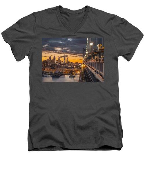 Eastbound Encounter Men's V-Neck T-Shirt by Eduard Moldoveanu