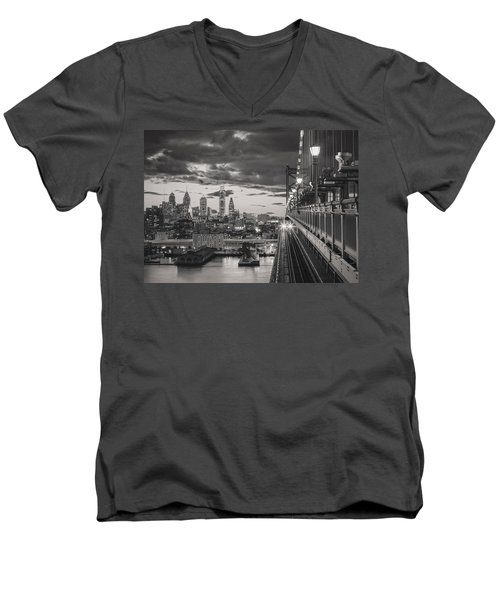 Eastbound Encounter In Black And White Men's V-Neck T-Shirt by Eduard Moldoveanu