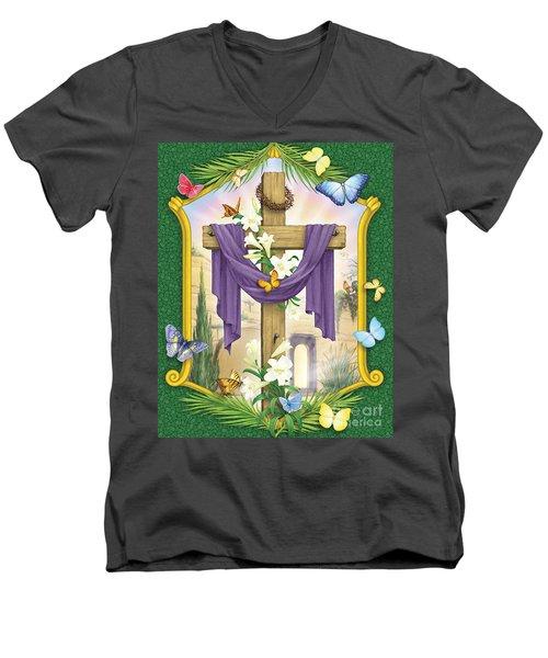 Easter Cross Men's V-Neck T-Shirt