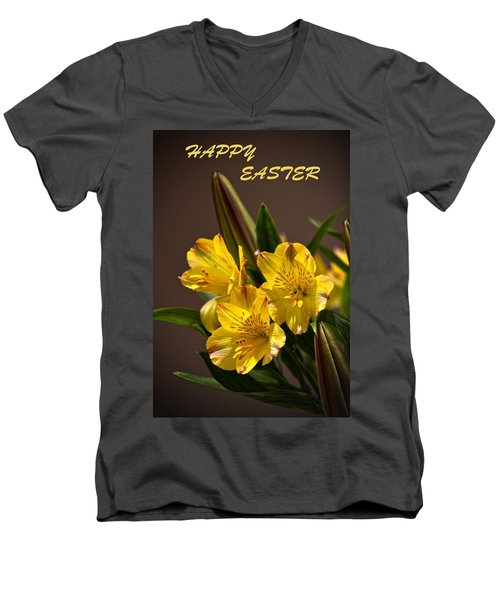 Easter Lilies Men's V-Neck T-Shirt by Sandi OReilly