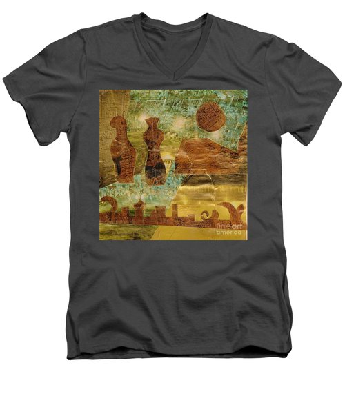 Eastern Motif Men's V-Neck T-Shirt by Patricia Cleasby