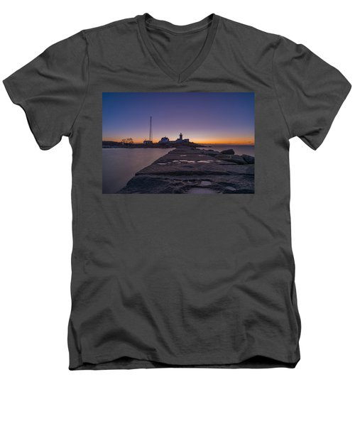 Eastern Point Lighthouse Just Before Sunrise Gloucester Ma Men's V-Neck T-Shirt