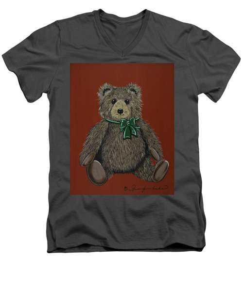 Men's V-Neck T-Shirt featuring the painting Easton's Teddy by Jennifer Lake