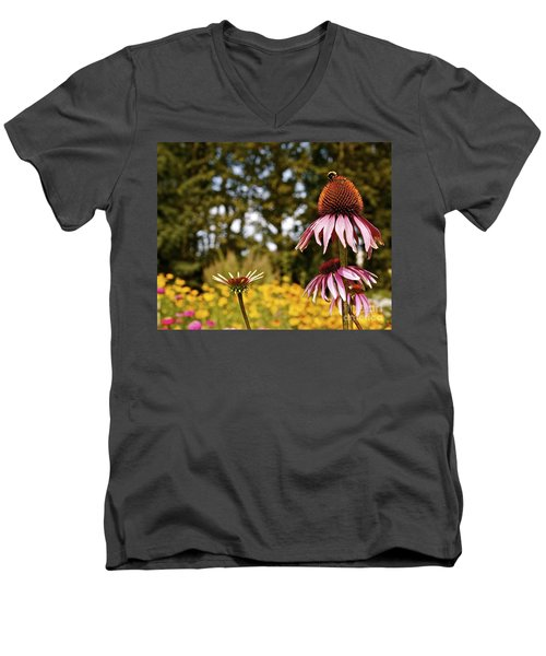 Echinacea With Bee Men's V-Neck T-Shirt by Linda Bianic