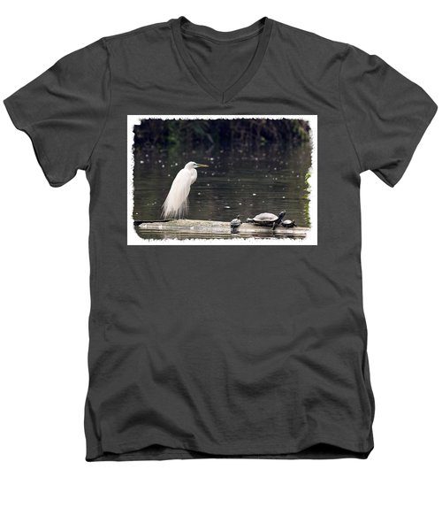 Egret And Turtles Men's V-Neck T-Shirt