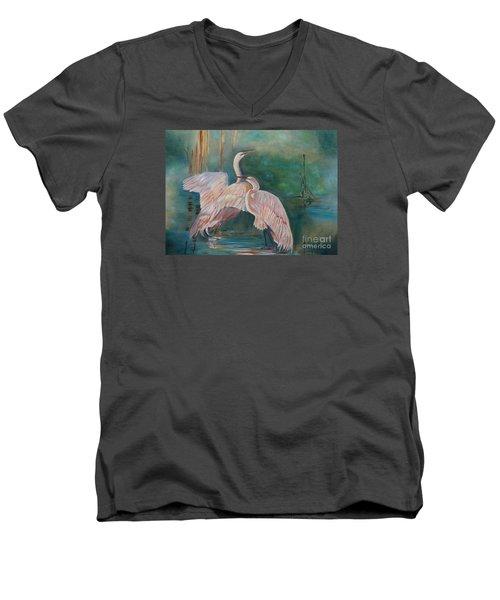 Egrets In The Mist Men's V-Neck T-Shirt
