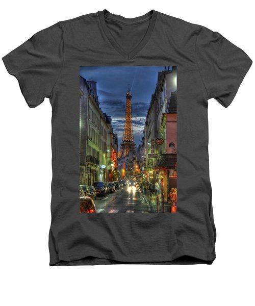Eiffel Over Paris Men's V-Neck T-Shirt