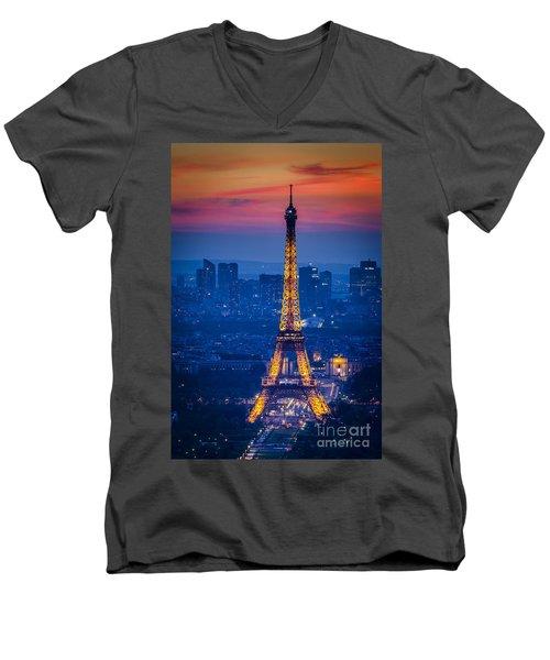Eiffel Tower At Twilight Men's V-Neck T-Shirt