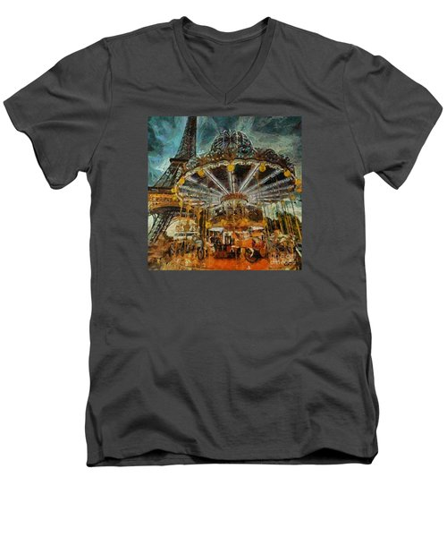 Men's V-Neck T-Shirt featuring the painting Eiffel Tower Carousel by Dragica  Micki Fortuna