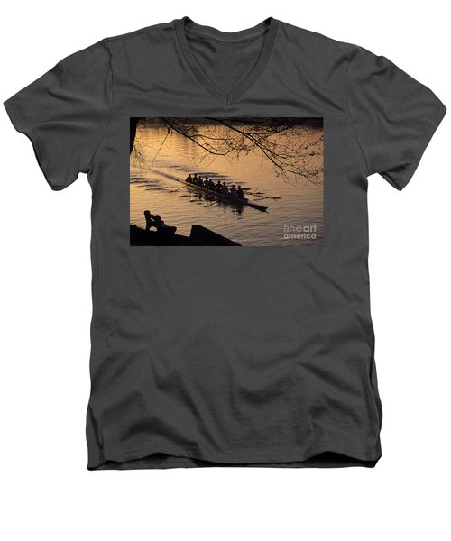 Eight Man Crew Rowing Along Montlake Cut  Men's V-Neck T-Shirt