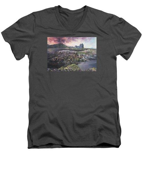 Men's V-Neck T-Shirt featuring the painting Eilean Donan Castle Scotland by Jean Walker