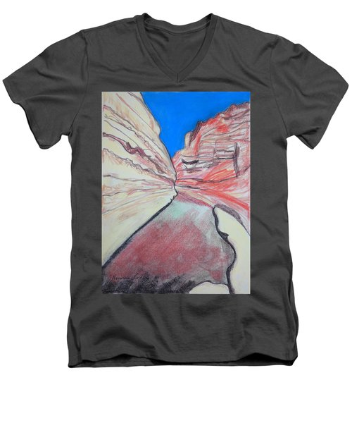 Men's V-Neck T-Shirt featuring the drawing Ein Avdat  by Esther Newman-Cohen