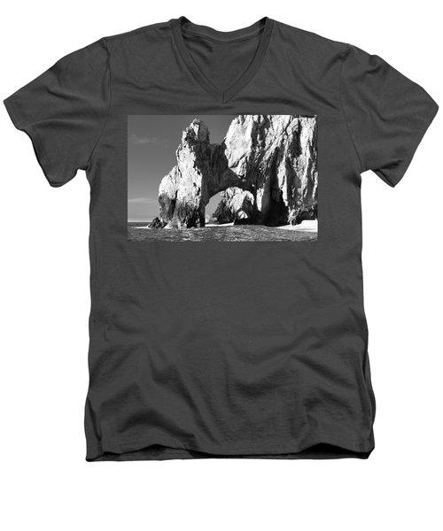 El Arco In Black And White Men's V-Neck T-Shirt