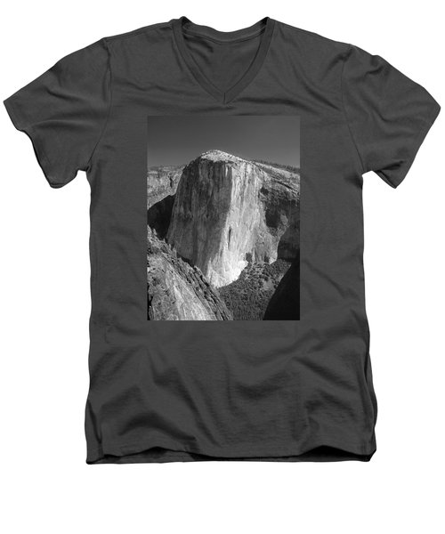 106663-el Capitan From Higher Cathedral Spire, Bw Men's V-Neck T-Shirt
