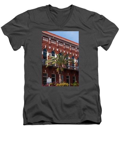 Men's V-Neck T-Shirt featuring the photograph El Centro Espanol De Tampa by Paul Rebmann