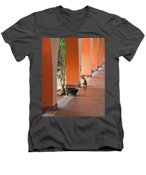 Men's V-Neck T-Shirt featuring the photograph El Gato by Marcia Socolik