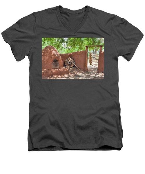 Men's V-Neck T-Shirt featuring the photograph El Rancho De Las Golondrinas by Roselynne Broussard