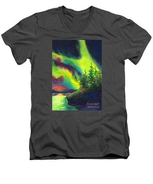 Electric Green In The Sky 2 Men's V-Neck T-Shirt