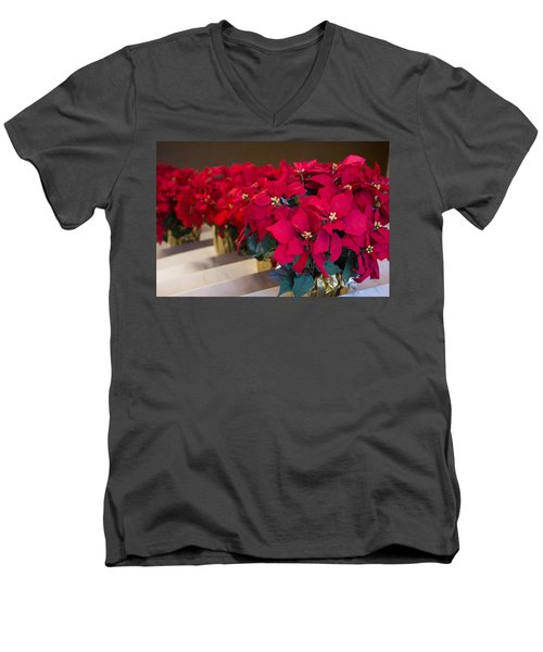 Elegant Poinsettias Men's V-Neck T-Shirt