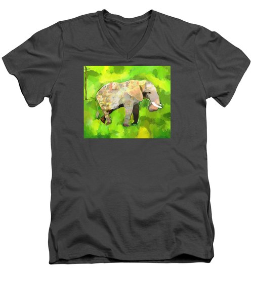 Men's V-Neck T-Shirt featuring the painting Elephant 4 by Jeanne Fischer