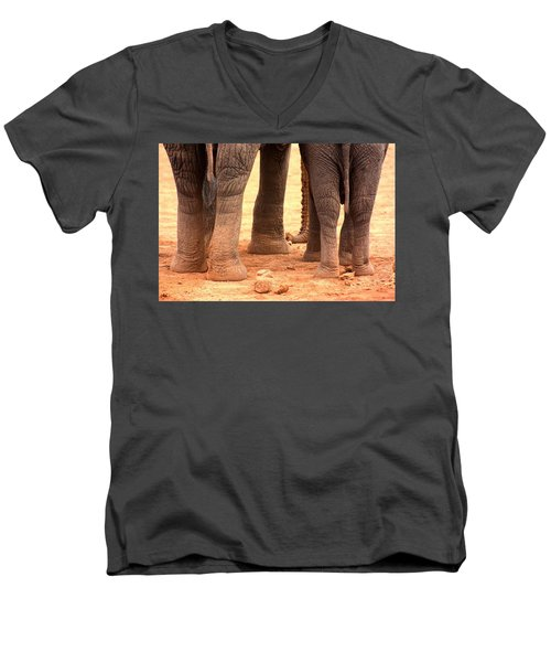 Men's V-Neck T-Shirt featuring the photograph Elephant Family by Amanda Stadther