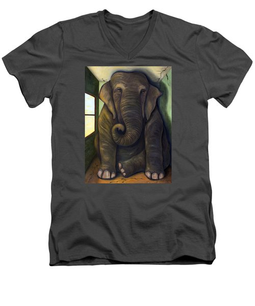 Elephant In The Room Men's V-Neck T-Shirt by Leah Saulnier The Painting Maniac