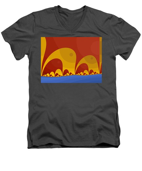 Men's V-Neck T-Shirt featuring the digital art Elephant Lake by Mark Greenberg