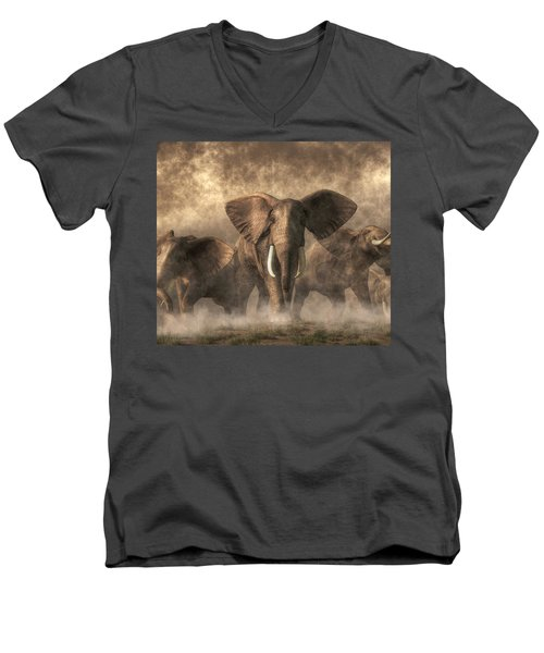 Elephant Stampede Men's V-Neck T-Shirt