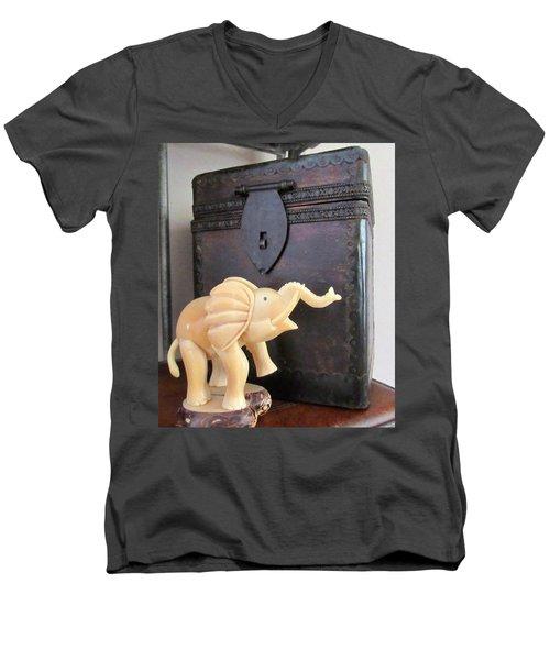 Elephant With Elephant Box Men's V-Neck T-Shirt