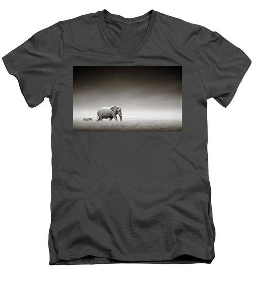 Elephant With Zebra Men's V-Neck T-Shirt by Johan Swanepoel