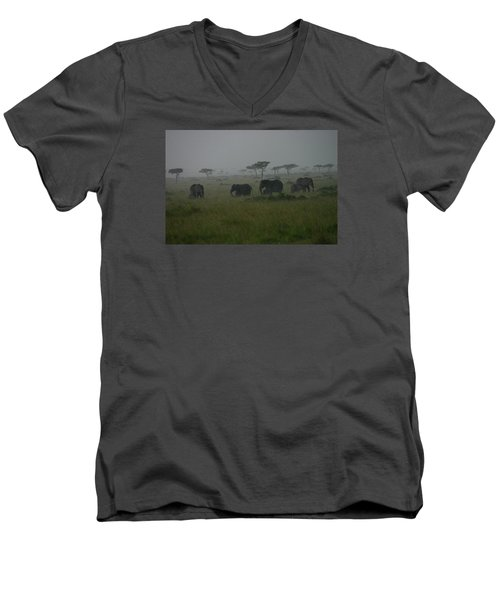 Elephants In Heavy Rain Men's V-Neck T-Shirt