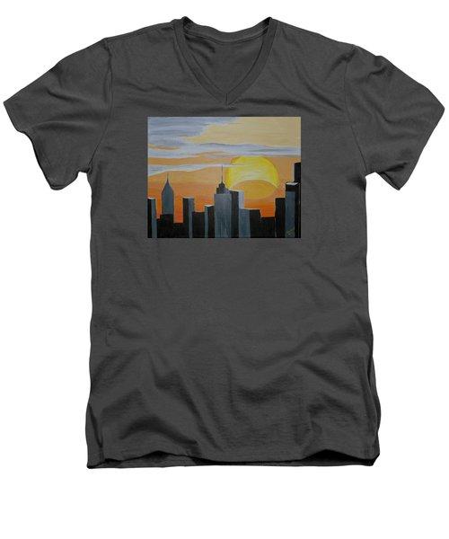 Elipse At Sunrise Men's V-Neck T-Shirt by Donna Blossom