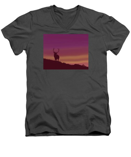 Men's V-Neck T-Shirt featuring the digital art Elk At Dusk by Terry Frederick