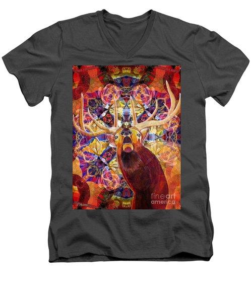 Men's V-Neck T-Shirt featuring the painting Elk Spirits In The Garden by Joseph J Stevens