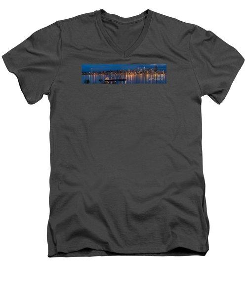 Elliott Bay Seattle Skyline Night Reflections  Men's V-Neck T-Shirt by Mike Reid