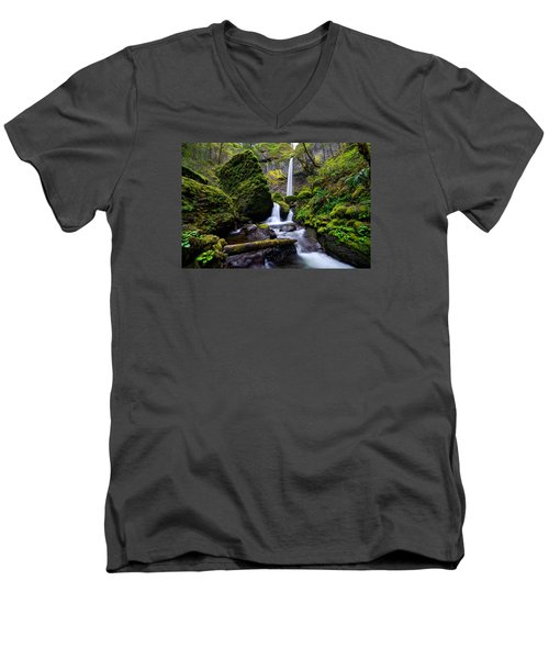 Elowah Falls Men's V-Neck T-Shirt
