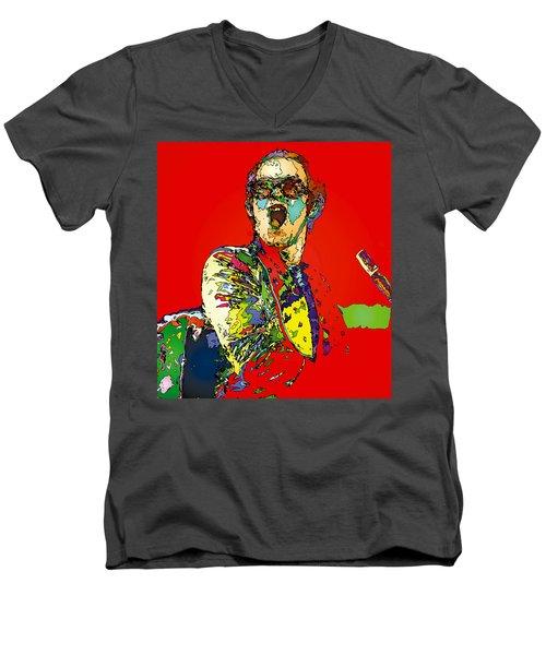 Elton In Red Men's V-Neck T-Shirt by John Farr